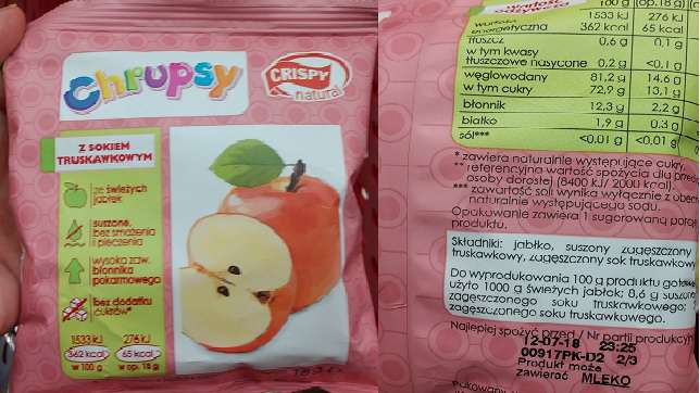 Chrupsy suszone chipsy jabłkowe CRISPY NATURAL