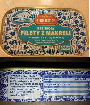Filety z makreli w wodzie z solą morską King Oscar
