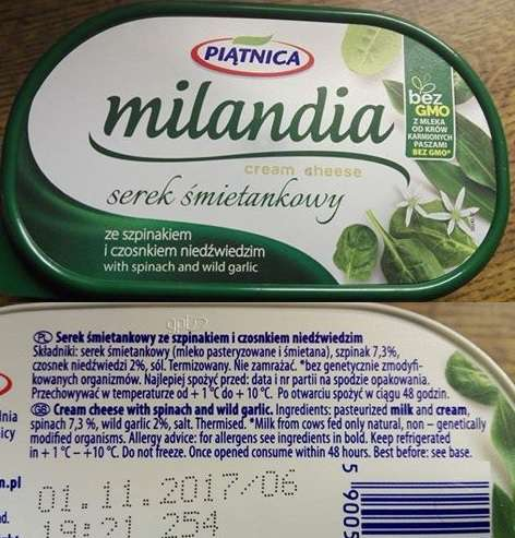 Milandia serek śmietankowy ze szpinakiem Piątnica