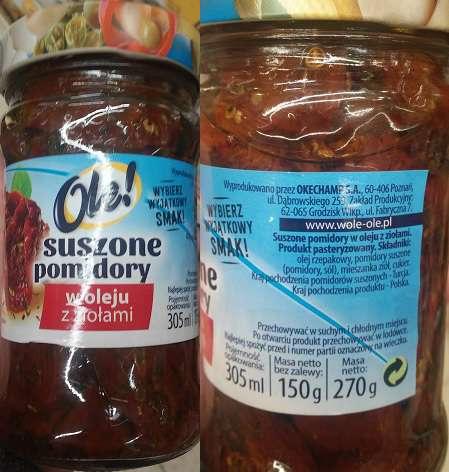 Suszone pomidory w oleju z ziołami OLE!