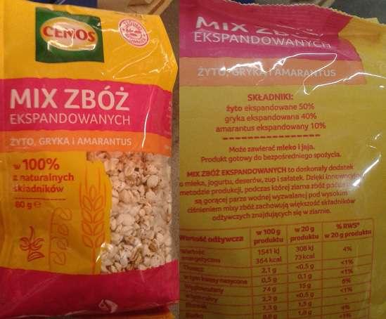 MIX zbóż ekspandowanych żyto, gryka, amarantus CENOS