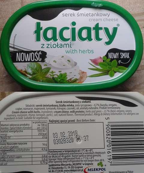Serek śmietankowy z ziołami Łaciaty